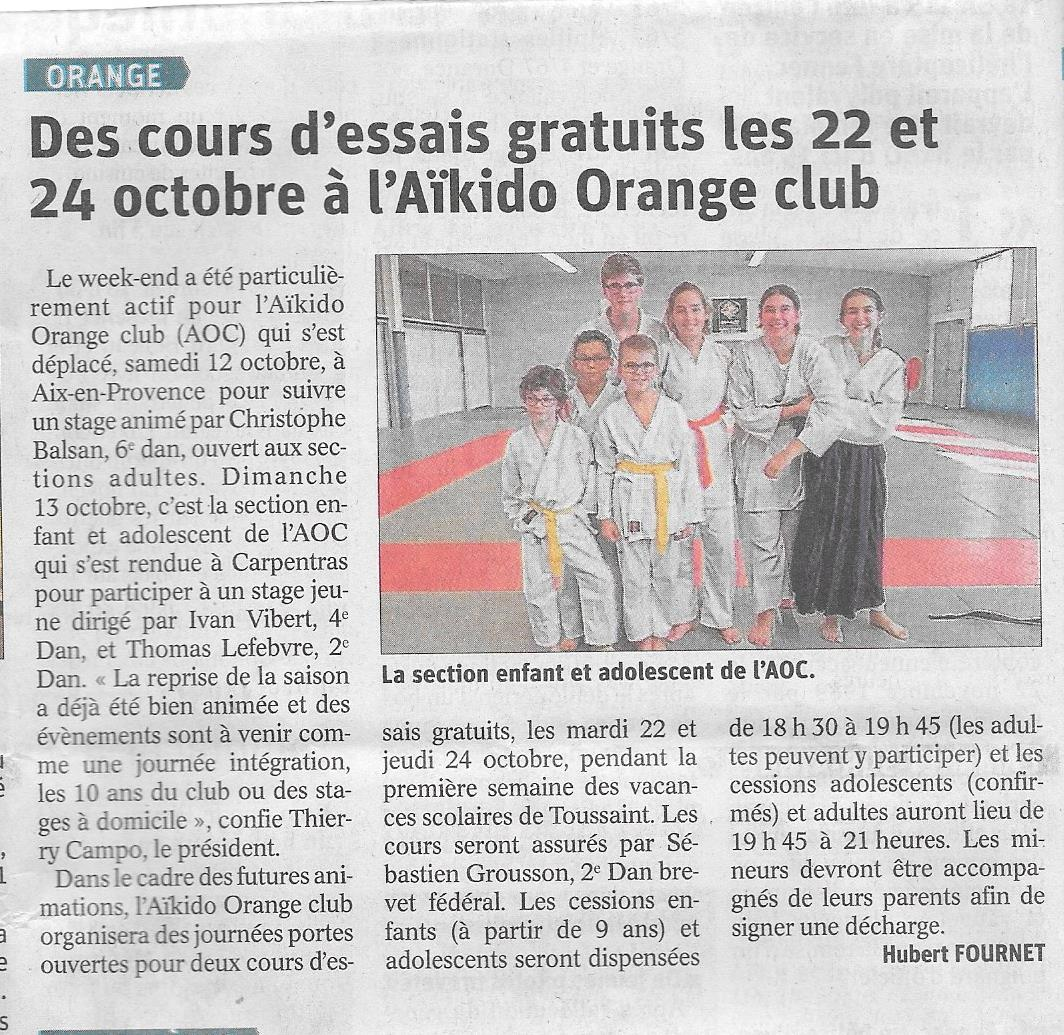 Aïkido Orange Club (84) - Presse